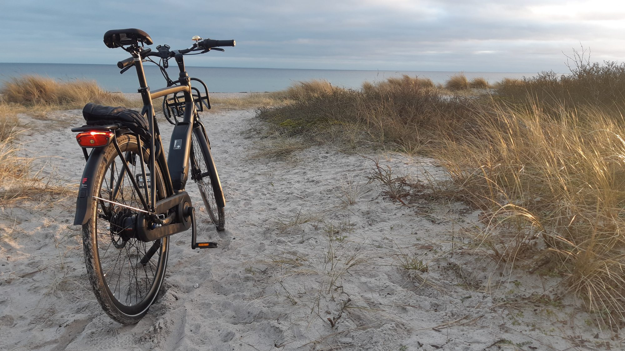 The fast Batavus Harlem electric bike at the beach of Hundige.