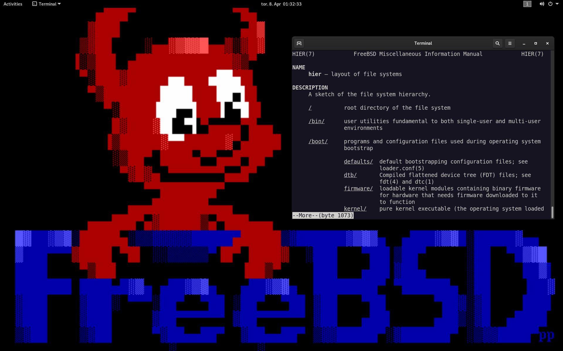 Screenshot of a FreeBSD desktop, that is showing GNOME, Terminal and a The Draw FreeBSD daemon Beastie background wallpaper.