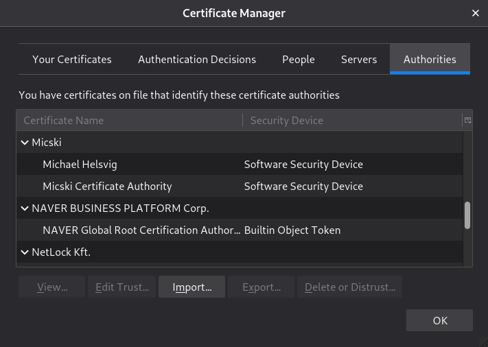 The root certificate of Micski Certificate Authority has been imported into the internal Certificate Manager of Mozilla Thunderbird mail client.